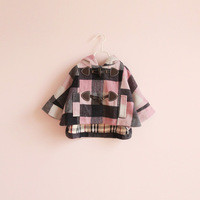 Sun female child t9108 fashion f n horn button plaid batwing sleeve outerwear
