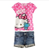 Free shipping!! 5pcs/lot  Pink Hello kitty girls' suits, short-sleeved T-shirt + jeans summer suit 2 groups 80/90/100/110/120