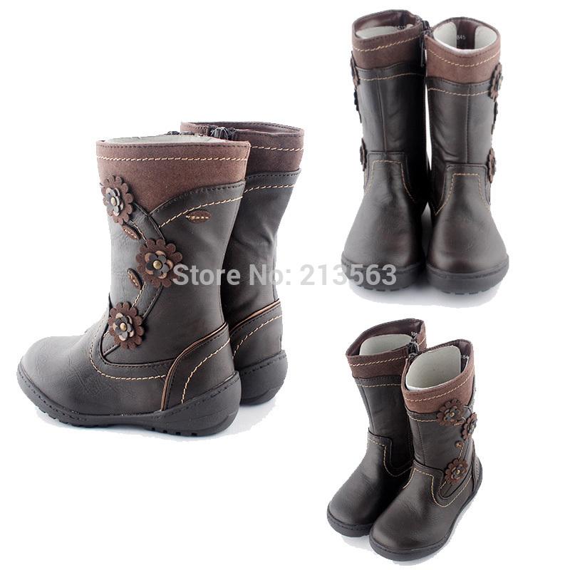 Grande vendita! Ragazza bambini ragazza inverno con cerniera piatta carino boot scarpe per bambini dimensione del fiore 2-13