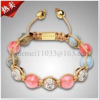 Min.order is $10(mixed order) NYE3339 gold skull crystal bead free shipping shamballa bracelet fashion jewelry cheap price