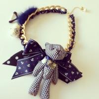 Bear big ! fashion design short necklace dolls necklace
