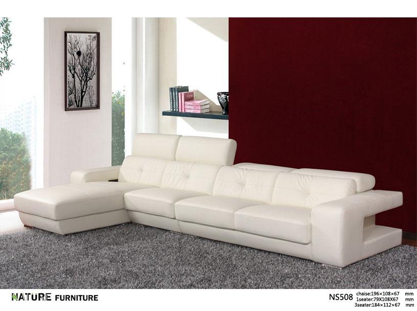 Modern L shape corner sofa top Genuine leather sofa living room furniture NS508(China (Mainland))