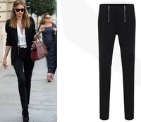 Hot selling~ 1pair European fashion Double fake zipper lady's slim trousers Pencil Pants Free Shipping
