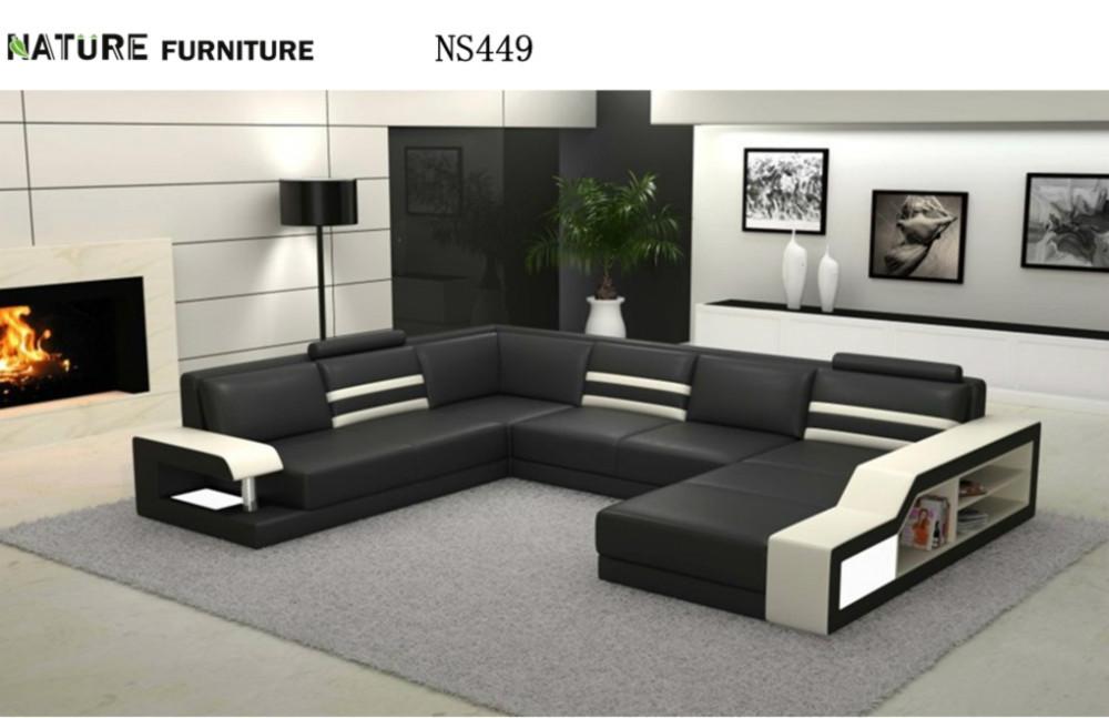 Moderne en forme de l canap d 39 angle top en cuir v ritable for Meuble salle de sejour moderne