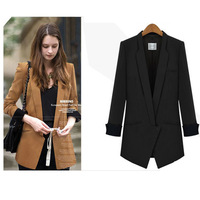 Free Shipping 2013 High Quality Fashion For Women Blazer Suit Plus Size Long Sleeve Slim Work Wear Suits Coat 9009