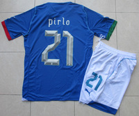 13/14 Italy Italia Home Blue Pirlo 21 Adult Size Short Sleeve Soccer Jersey Kit Football Uniform Shirt & Shorts W/ Logo