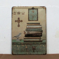 15*20CM Retro Tin Sign Wall Decor Vintage Painting Home Plaque Metal Poster Decorative Picture