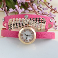 Free Shipping! New 2013 Women Dress Watch Women Luxury Leather Rhinestones Multilayer Digital Quartz Watches