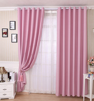Curtain finished product modern rustic pure color cloth curtain dodechedron piaochuang polyester cotton fabric domestic purple
