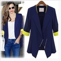 2013 Fashion Hit Color Half Sleeve Blazers Women's Suits Jackets Slim Zipper Casual Coat S M L XL Free Shipping 9336