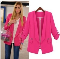 New 2014 Fashion Womens Suit Foldable Sleeve Candy Color Blazer Jacket Shawl Cardigan Coat,Hot Selling Women Clothing