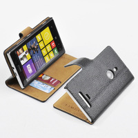 For NOKIA Lumia 925 GENUINE LEATHER Wallet Card Holder+Pouch Stand Filp Case Cover BLACK Free shipping