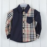 Free shipping 2013 new kid's fashion shirt 100% cotton plaid full shirt boy's shirt fashion  kid's shirt  2-7yearsold