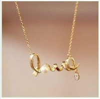 Wholesale New Fashion accessories Letter Jewelry Korean style Imitation Rhinestone Crystal Pearl LOVE letter Necklace RJ1106