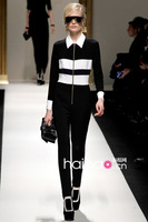 Jumpsuits New Fashion 2013 Autumn Runway Women Rompers Black and White Stripe Zipper Elegant Long-Sleeve One-Piece Jumpsuit