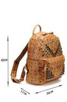 New arrival Bags brown in the studs all over bag personality rivet patchwork women shoulder handbag women backpack free shipping