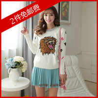 2013 female all-match lion head dot tiger pattern batwing sleeve o-neck long-sleeve pullover sweater