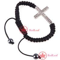 [Hot]:  Europeans Style  Cross Macrame Stretch Crystal Bracelet Save up to 50%