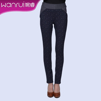 Women's 2013 autumn fashion plaid colorant match elastic slim long trousers female