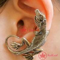 [Hot]:  1 PCS Bronze Metal Temptation Lizard Stud Ear Cuff Unisex Earring Save up to 50%