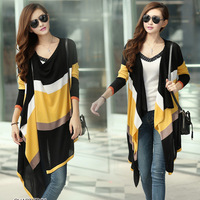 Women's color block cape outerwear long-sleeve slim medium-long irregular Women sweater cardigan