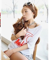 Women's summer blouse letter fashion all-match loose half sleeve t-shirt