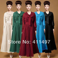New 2014 Popular Selling Classy Elegant Long-Sleeve Double Layer Floor Length Dress Thigh Slit Leg For Tall Women