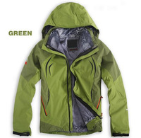 Free Shipping 2014 Winter New Fashion Men's Climbing Sports Coat+Leopard Bladder+Hoodie Outdoor Waterproof Charge Clothes Jacket