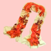 2014 spring and autumn silk scarf female scarf rich flower print pattern silk scarf velvet chiffon scarves SC0406