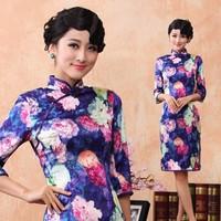 2013 pure purple rose silk elastic satin cheongsam
