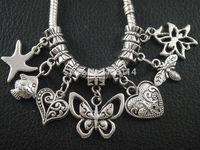 140pcs Antique Silver Star Heart Butterfly flower Bee Lucky Flower Sets Charms Beads Fit European Bracelets DIY