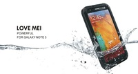 For Galaxy Note 3 Note iii N9000 Extreme three proofings Dirtproof Waterproof Shockproof Love Mei Cover Case + Gorilla Glass