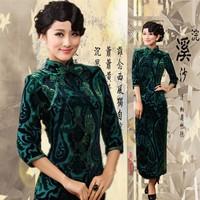 Green autumn and winter long design luxury velvet long Qipao
