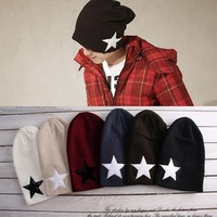 Free shipping Male knitted hat winter loose five-pointed star pocket hat female autumn and winter turban