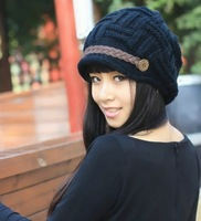Knitted  winter  knitted female ear protector cap autumn and winter casual cap fashion pile cap toe cap covering cap hat