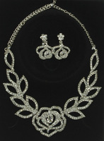 Clear Glass Rhinestone Alloy Flower Necklace Clip-On Earring Set Bridal Jewelry