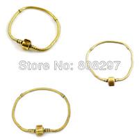 21cm Snake Chain Clasp Fits Charm Beads Gold Tone European Bracelets 20pcs