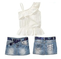 retail, new arrivals fashion baby girls clothing set, white tops + denim skirts summer kids clothes for gilrs  2-7 years