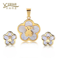 New Hot Women Pendant & Earrings litter Bear Jewelry set Stainless steel 3 colors Gold/Rose gold/Platinum Plated  Accessories