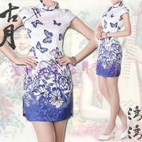 Butterfly a391 chinese style cheongsam costume classical evening dress banquet summer dress