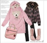 Hot sale Free shipping 2014 NEW women slim hoodie long top pullover coat Cute teddy bear korean style blue black pink