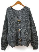 Free Shipping 2013 Hot Tops Fashion Sweater New Designer Stylish Grey V Neck Long Sleeve Pockets Knit Cardigan For Women