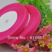 """100Y 3/8"""" Sheer Organza Ribbon Craft/Wedding/sewing Hot Pink  RA131"""