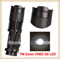 Free shipping CREE Q5 LED Zoomable 300lm Torch Flashlight Light 7W