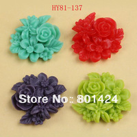 free shipping 81-137 15piece flat back Resin flower beads  Cab Cabochon cameo setting