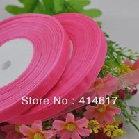 "100Y 3/8"" Sheer Organza Ribbon Craft/Wedding/sewing Dark Pink   RA133"