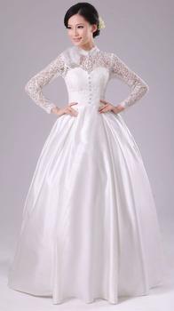 Бесплатная доставка Прополка платье Кружева длинным рукавом Урожай Элегантный Принцесса платья Noiva Свадебное платье свадебное платье кружева с длинным рукавом