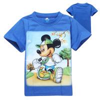 2014 Good Quality Children T shirt Cartoon Minnie Mickey Mouse Print short Sleeve Kids Girl and Boy T-shirt 6pcs/lot wholesale