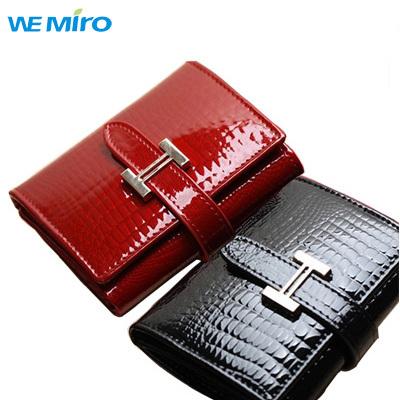 New 2014 Red Black Purse Wallet Women Genuine Leather Vintage Carteira Feminina Alligator Pattern(China (Mainland))