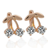 Rose gold plated Cherry ear clip Fashion design high quality